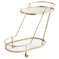 Olga Modern Regency Angular Brass Bar Cart