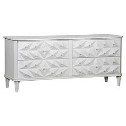 Noir Giza Modern White Mahogany Textured Diamond 4-Drawer Dresser