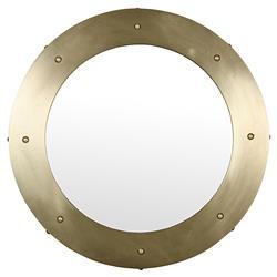 Noir Clay Modern Antique Bras Round Metal Mirror - 36D