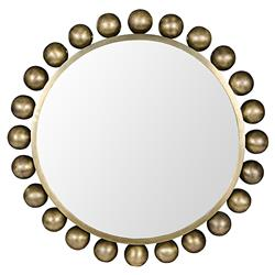 Minerva Modern Antique Brass Metal Orb Accent Wall Mounted Mirror - 33D