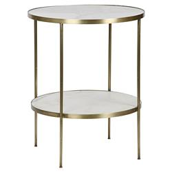 Noir Rivoli Modern Gold Frame 2-Tier White Stone Round Side Table
