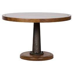 Noir Yacht Industrial Walnut Cast Metal Pedestal Dining Table