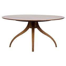 Noir Vera Mid Century Dark Brown Walnut Round Dining Table