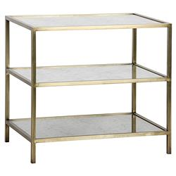 Noir Modern 3-Tier Antique Glass Brass Metal Side Table