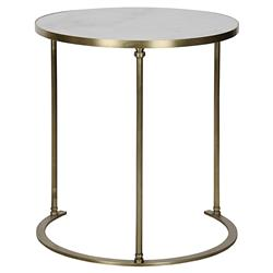 Noir Molly Modern White Stone Antique Brass Round Side Table - Large