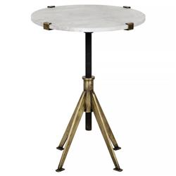 Noir Edith Modern White Quartz Brass Adjustable Height Small Side Table
