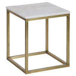 Noir Manning Modern Brass Metal Cube White Quartz Side Table - 18H