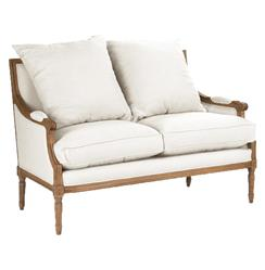 St. Germain French Country Natural Oak Louis XVI White Settee | B007-2 E255 C004