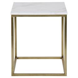 Noir Manning Modern Brass Metal Cube White Quartz Side Table - 24H