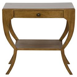 Noir Maude Modern Saddle Brown Mahogany Drawer and Shelf Side Table