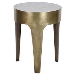 Noir Cylinder Modern Antique Brass 3-Legged White Quartz Side Table