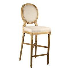 French Country Medallion Back Bar Light Linen Bar Stool | FC011-35 BAR E255 A003