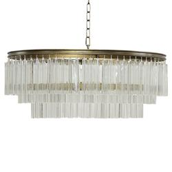 Noir Deco Modern Antique Oval Brass Square Pendants Chandelier