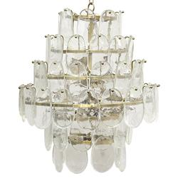 Noir Mystic Coastal Antique Brass Oval Glass Plates Chandelier