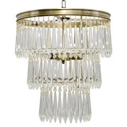 Noir Venice Regency Antique Brass 3-Tier U-Drop Prism Chandelier