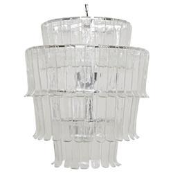 Noir Villa Modern Classic Clear Glass Chrome Metal Chandelier