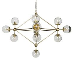 Noir Pluto Mid Century Antique Brass Metal Constellation Orb Chandelier