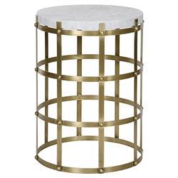Noir St. Petersburg Modern Antique Brass Metal Cage Round Side Table