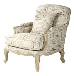 French Country Literary Script Linen Club Chair