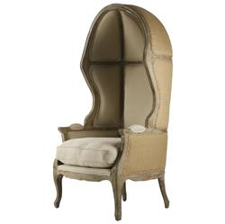 Leonide Limed Grey Oak Linen French Canopy Balloon Chair
