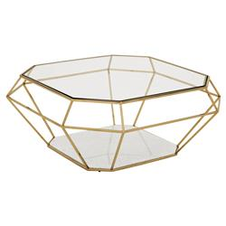 Adler Hollywood Regency Glass Gold Diamond Frame Coffee Table