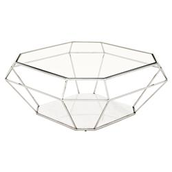 Eichholtz Adler Hollywood Regency Glass Silver Diamond Frame Coffee Table