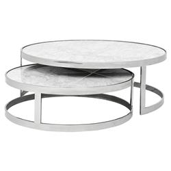 Eichholtz Orlando Modern Silver White Stone 2-Piece Round Coffee Table