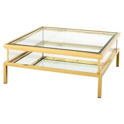 Blanchett Hollywood Gold Frame Sliding Glass Square Coffee Table
