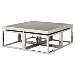 Eichholtz Brubeck Hollywood Silver Black Glass 5-Piece Square Coffee Table