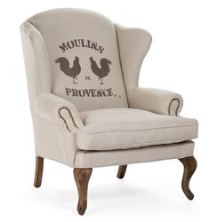 "Zacharie ""Moulins"" French Country Nail Head Wing Chair 