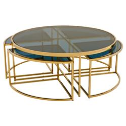 Eichholtz Bergen Hollywood Gold Blue Glass Nesting Round Coffee Table