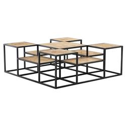 Bertrand Industrial Black Metal Tiered Reclaimed Oak Coffee Table