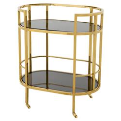 Carr Hollywood Regency Gold Frame 2-Tier Black Glass Bar Cart