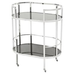 Eichholtz Carr Hollywood Regency Silver Frame 2-Tier Black Glass Bar Cart