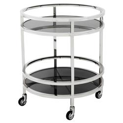 Eichholtz Coop Hollywood Silver Frame 2-Tier Black Glass Circular Bar Cart