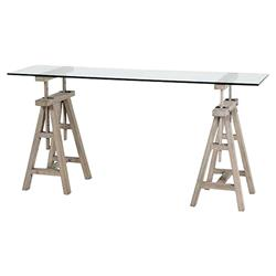 Brunel Industrial Washed Grey Wood Trestle Glass Console Table