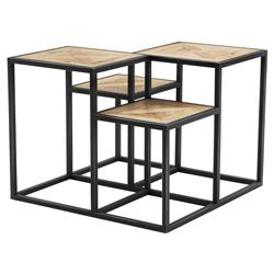 Eichholtz Bertrand Industrial Black Metal Tiered Reclaimed Oak Side Table