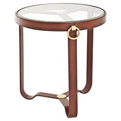 Eichholtz Lorain Rustic Sienna Brown Leather Round Glass Side End Table