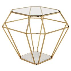 Eichholtz Adler Hollywood Gold Frame Diamond Shape Glass Side Table