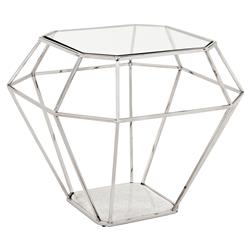 Eichholtz Adler Hollywood Nickel Frame Diamond Shape Glass Side Table