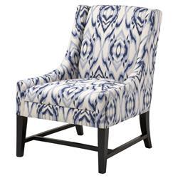Dorset Coastal Blue Cream Pattern Upholstered Living Room Chair