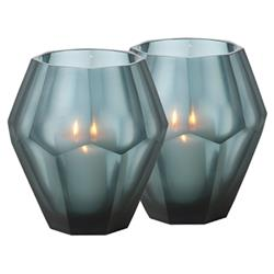Eichholtz Modern Classic Grey Blue Faceted Glass Candleholder - Set of 2