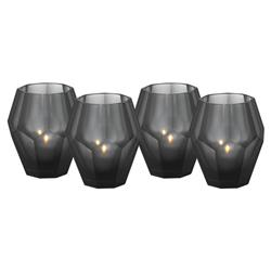 Eichholtz Modern Classic Grey Black Faceted Glass Candleholder - Set of 4