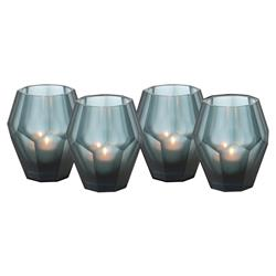 Eichholtz Modern Classic Grey Blue Faceted Glass Candleholder - Set of 4