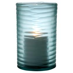 Karl Coastal Beach Light Blue Hurricane Candleholder - 10H