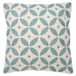 Modern Classic Blue Ivory Round Tile Decorative Pillow - 20x20