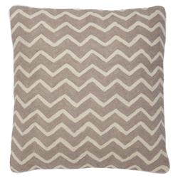Bonnie Modern Taupe Ivory Zig Zag Decorative Pillow - 20x20