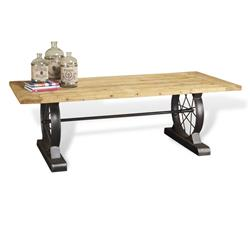 Drexler Rustic Reclaimed Wood Wheel Dining Table | 128082