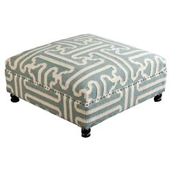 Adam Rustic Global Sage Green Wool Ottoman