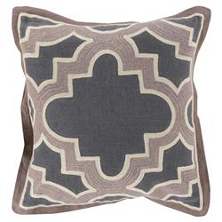 Moorish Global Taupe Grey Cotton Pillow - 18x18